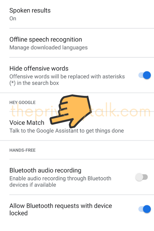 Android Security Settings Voice Match