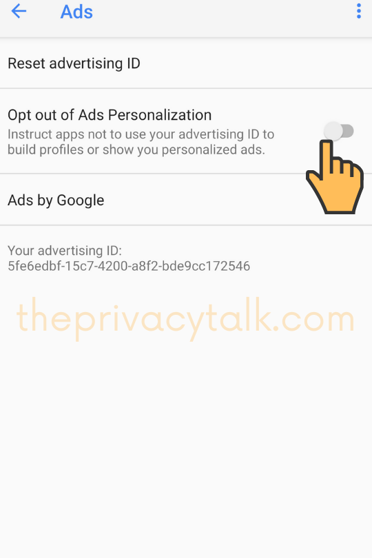 Android Security Settings Opt out of ads personalization